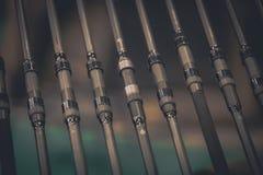 Detalhe das varas de pesca Imagens de Stock