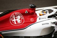 Detalhe de Alfa Romeo conduzido por ericsson em Monza 2018 imagem de stock