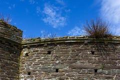 Detalhe de ameias, construção no forte histórico da angra de Bayards com céu azul; Dardo do rio, Dartmouth, Devon, Inglaterra fotografia de stock