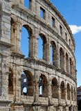 Detalhe de anfiteatro romano antigo nos Pula, Croácia Imagem de Stock