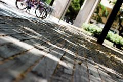 Detalhe de assoalho de madeira rústico no parque Fim acima imagem de stock royalty free