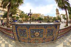 Detalhe de beira cerâmica ornamentado na cidade espanhola velha Imagens de Stock Royalty Free