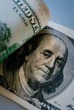 Detalhe de Benjamin Franklin na nota de dólar 100 Fotografia de Stock Royalty Free