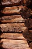 Detalhe de cabana rústica de madeira pioneira Imagem de Stock