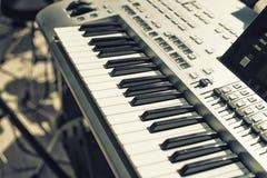 Detalhe de chaves no teclado da música Foto de Stock Royalty Free