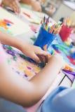 Detalhe de classe de arte da escola primária imagem de stock royalty free