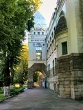 Detalhe de construção de biblioteca Chernihiv, Ucrânia imagem de stock royalty free