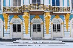Detalhe de eremitério do pavilhão no parque de Catherine em Tsarskoe Selo no inverno pushkin St Petersburg Rússia foto de stock royalty free