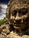 Detalhe de escultura principal gigante do templo antigo em Camboja Fotografia de Stock Royalty Free
