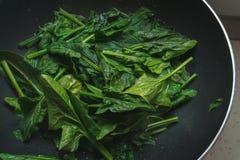 Detalhe de espinafres cozinhados Nutrientes do ferro vapor imagens de stock royalty free