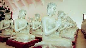 Detalhe de estátuas das Budas que decora o templo budista Fotografia de Stock