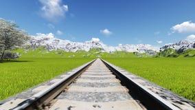Detalhe de estrada de ferro italiana visto de cima de Europa ilustração do vetor