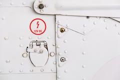 Detalhe de fuselagem de aviões clara do esporte imagem de stock royalty free