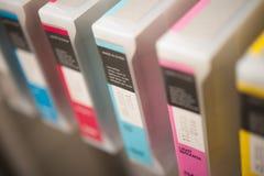 Detalhe de impressora a jato de tinta Cartridges imagens de stock