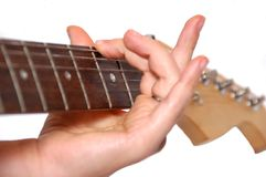 Detalhe de jogo da guitarra Fotos de Stock