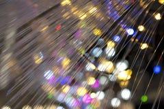Detalhe de lâmpada da fibra ótica com luzes coloridas do fundo fotos de stock