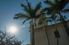 Detalhe de lado da igreja com torre, palmeiras e o jardim sempre-verde, em um dia ensolarado brilhante em São Manuel foto de stock