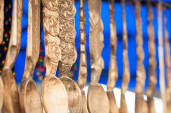 Detalhe de madeira cinzelado das colheres Foto de Stock Royalty Free