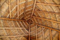 Detalhe de madeira tropical do telhado da cabine de Palapa México fotografia de stock royalty free