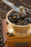 Detalhe de moedores de café de madeira da mão Fotos de Stock Royalty Free