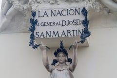 Detalhe de monumento do libertador do Peru, Jose de San Martin em Lima, Pe imagem de stock