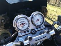 Detalhe de painel da motocicleta foto de stock