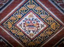 Detalhe de parede antiga no la Luna de Huaca de em Trujillo, Peru foto de stock royalty free