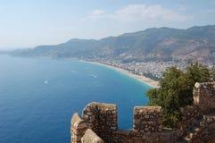 Detalhe de parede e de paisagem do mar Foto de Stock