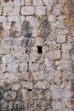 Detalhe de paredes de pedra antigas do bloco, Dubrovnik, Croácia fotos de stock