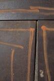 Detalhe de placas do ferro pintadas com listras do pulverizador Foto de Stock Royalty Free