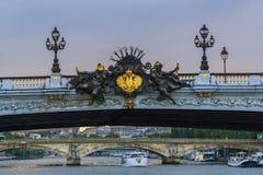 Detalhe de ponte de Alexander III fotografia de stock