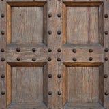 Detalhe de porta velha da madeira maciça Fotografia de Stock
