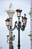 Detalhe de postes de luz de Veneza com pombos Fotos de Stock