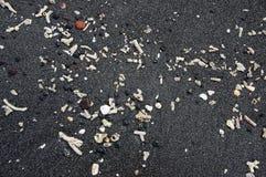 Detalhe de praia preta da areia da lava com fragmentos corais brancos Imagens de Stock Royalty Free