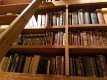 Detalhe de prateleiras em uma biblioteca velha, um lugar bonito do conhecimento com atmosfera original fotos de stock royalty free
