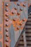 Detalhe de rebites em uma ponte do ferro Imagem de Stock