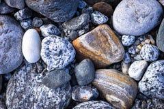 Detalhe de rochas sortidos da praia imagem de stock