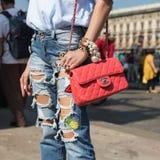 Detalhe de saco durante Milan Fashion Week Imagens de Stock