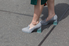 Detalhe de sapatas na semana de moda de Milan Men Fotografia de Stock