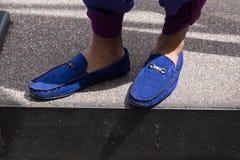Detalhe de sapatas na semana de moda de Milan Men Fotografia de Stock Royalty Free