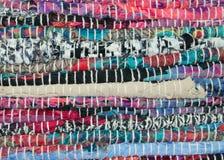 Detalhe de tapete de pano de muitas cores Imagem de Stock