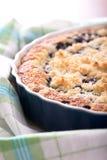 Detalhe de torta de mirtilo fresca no prato azul do cozimento na toalha foto de stock royalty free
