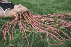 Detalhe de tranças cor-de-rosa da cor Foto de Stock