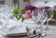 Detalhe de um grupo da tabela para um banquete Imagens de Stock Royalty Free