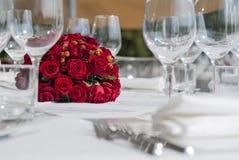 Detalhe de um grupo da tabela para um banquete Foto de Stock