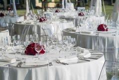 Detalhe de um grupo da tabela para um banquete Imagem de Stock Royalty Free