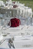 Detalhe de um grupo da tabela para um banquete Imagens de Stock