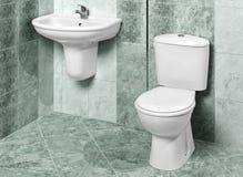Detalhe de um interior moderno do banheiro no mármore verde Imagens de Stock Royalty Free