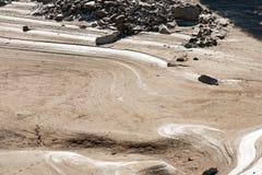 Detalhe de um lago seco - conceito da seca imagem de stock