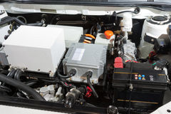 Detalhe de um motor de automóveis elétrico imagem de stock royalty free